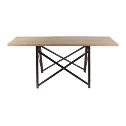 "French Narrow Trestle Table - A unique narrow shape gives this industrial French trestle table many possibilities. The table has the original iron trestle base with a new wood top. Top dimensions: 71.625""w x 18.5""d Base dimensions: 23""d x 37.125""w x 33.25""h"