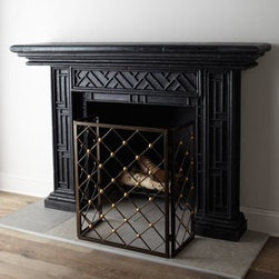 "Horchow - Country Manor Mantel - Simple, classic, geometric design mantel creates an engaging frame for your fireplace. Handcrafted of agglomerated stone. Hand-painted black finish. Outdoor safe. Wall mounted. 72""W x 15""D x 50""T. Imported. Boxed weight, approximately 234.3 lbs..."