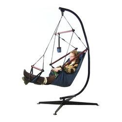 Sunnydaze Decor - Sunnydaze Hanging Hammock Chair W/ Pillow, Drink Holder & Stand Combo, Blue - Features of the Hanging Hammock Chair: