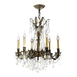 Worldwide Lighting - Solid Brass Chandelier 23 In. - 6 Light in Antique Bronze Finish & Golden Teak C - This 6-light Solid Brass Collection chandelier in Antique Bronze finish and Golden Teak crystal is a stunning addition to your home and is dressed with our 30% PbO Premier Crystal glass. Worldwide Lighting Corporation is a premier designer manufacturer and direct importer of fine quality chandeliers, surface mounts, and sconces for your home at a reasonable price. You will find unmatched quality and artistry in every luminaire we manufacture.