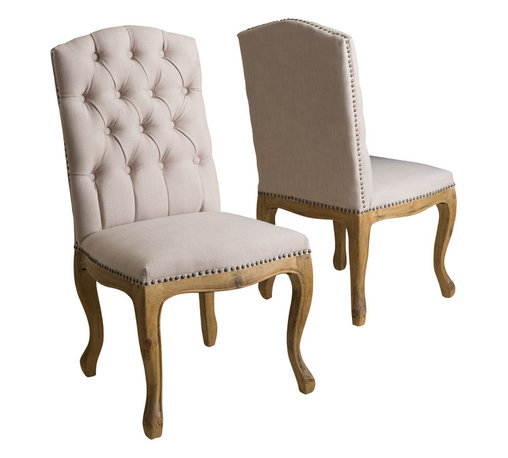Great Deal Furniture - Jolie French Design Weathered Wood Dining Chairs (set of 2) - With its unique weathered frame and plush seat and back, you will want to keep a pair of Jolie dining chairs in each and every room.