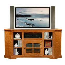 Eagle Furniture Manufacturers - Oak Ridge 63.5 in. Corner TV Console (Medium Oak) - Finish: Medium Oak. One glass panel door. One adjustable wood shelf. Four fixed wood shelves. Designed with decorative molding and fluted detailing. Warranty: Eagle's products are guaranteed against material defects for one year from date of delivery to the dealer. Made in USA. No assembly required. 63.5 in. W x 17.75 in. D x 32 in. H (93 lbs.)The Oak Ridge collection combines American oak hardwood with updated contemporary styling. Heavy crown molding, sleek lines, fluted side molding, black brushed metal hardware, solid oak frames and solid oak recessed doors give this transitional collection a style all its own