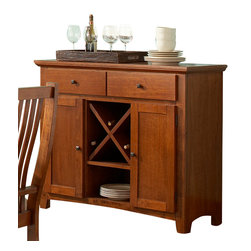 Steve Silver Furniture - Steve Silver Tulsa Server with Wine Storage in Oak - Lots of storage space and a warm oak finish. top drawers and framed side-cupboards flank a removable wine rack.