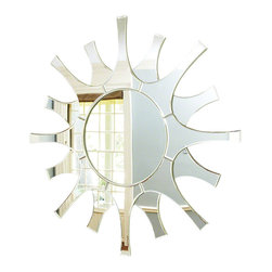 Global Views - Spike Mirror- White - Made of MDF and Eucalyptus.