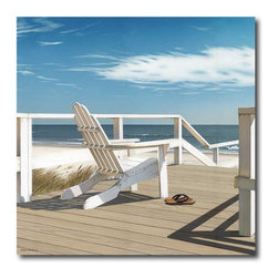 Courtside Market - Signal Chair On Deck Canvas Wall Art - 16W x 16H in. Multicolor - WEB-NC114 - Shop for Framed Art and Posters from Hayneedle.com! Simply hang the Signal Chair On Deck Canvas Wall Art - 16W x 16H in. and let the daydreaming begin. A canvas art piece to set your retirement goals this one is richly colored and realistic. It shows your destination spot of a white beach chair on a sun-soaked deck overlooking the water. Perfectly sized to fit into a collection of other beach-inspired artwork and still be dramatic on its own. Your canvas comes pre-stretched on sturdy wood bars and is ready to hang. Dimensions: 16W x 16H x 1.5D inches. Proudly made in the USA.