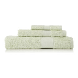 None - Pima Cotton Diamond Tile Border Celery 3-piece Towel Set - Detailed with a light diamond tile border,these soft and supple cotton terry towels are crafted from lustrous extra-long staple American pima cotton fibers prized for their strength and absorbency. The set includes a bath,hand and wash towel.