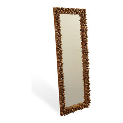 Kathy Kuo Home - Solid Chunky Wood Modern Rustic Tall Floor Mirror - A true reflection of your impeccable taste, this rustically refined mirror is suited to spaces both casual and cool. It's framed with chunks of rough-hewn wood that gives it a three-dimensional perspective — one that looks just as comfortable in an industrial loft as it does a country cottage.