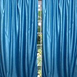 Mogul Interior - Azure Blue Indian Sari Curtain Window Treatment Drapes Panel in Pairs - Indian silk sari Curtain window drape Panels are not lined the perfect choice for your color matching bedroom decor, light, drapes with peasant look.