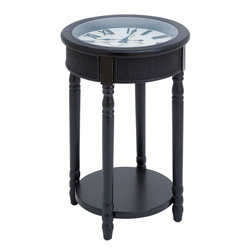 """Benzara - Wood Table Clock in Rich Black Finish with Stylish Design - Create a cozy ambience with this set in your living room, balcony or any area that you fancy. This exquisitely crafted table with a clock set looks neat and stylish. The elegant wooden table in a rich black finish with a clock in roman numbers complete this set. Diligently handcrafted from solid wood, this table is highly durable and is a great buy for people who like things simple and classy. The minimal, yet stylish design of this table allows you to match it to many different chairs and contemporary decor schemes. For all the lovers of handcrafted furniture, here is something to delight your senses.; This exquisitely crafted table with a clock set looks neat and stylish; The wooden table in a rich black finish; Handcrafted from solid wood; A minimal, yet stylish design; Ideal for living room, balcony or any area that you fancy; Weight: 13.22 lbs; Dimensions:17""""W x 17""""D x 26""""H"""