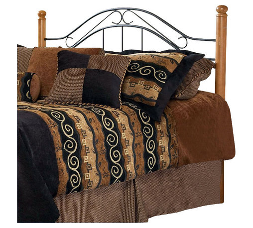 Hillsdale - Hillsdale Winsloh Metal Headboard in Black Finish-Full / Queen - Hillsdale - Headboards - 164HFQ - Enhance your bedroom or guest room with a unique bed frame that combines a touch of modern style with the comforting feel of traditional features. The Hillsdale Winsloh Metal Headboard combines flowing metal scroll work with strong oak corner posts. This textured steel black metal headboard incorporates rich warm wood creating a romantic cozy atmosphere. Choose the unique look of wrought iron and oak wood to add heirloom ambiance to any room. Available in multiple sizes to meet your needs.