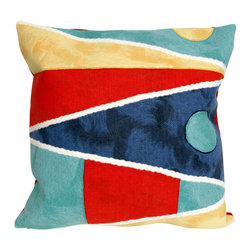 """Trans-Ocean Inc - Flags Multi 20"""" Square Indoor Outdoor Pillow - The highly detailed painterly effect is achieved by Liora Mannes patented Lamontage process which combines hand crafted art with cutting edge technology. These pillows are made with 100% polyester microfiber for an extra soft hand, and a 100% Polyester Insert. Liora Manne's pillows are suitable for Indoors or Outdoors, are antimicrobial, have a removable cover with a zipper closure for easy-care, and are handwashable.; Material: 100% Polyester; Primary Color: Navy;  Secondary Colors: aqua, beige, red, yellow; Pattern: Flags; Dimensions: 20 inches length x 20 inches width; Construction: Hand Made; Care Instructions: Hand wash with mild detergent. Air dry flat. Do not use a hard bristle brush."""