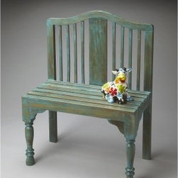 Butler Bench - Heritage - 30.25W in. - Like a charming accent from a romantic foreign film, the Butler Bench - Heritage - 30.25W in. adds an intriguing plot twist to your décor. The solid wood construction is gorgeously complemented by a hand-painted antique heritage finish. A slatted back and turned front legs add visual interest that makes this piece perfect for your home or patio. It's sure to become a favorite place for the story of your life to play out.About Butler SpecialtyButler Specialty Company has been designing and manufacturing high-quality occasional and accent furniture since 1930. Each piece reflects Butler's dedication to enduring design, exquisite craftsmanship, and top-quality materials. This family-owned company is based in Chicago. They scour the globe in search of the finest materials and most efficient means of production, reflecting their commitment to providing excellent quality at exceptional value.