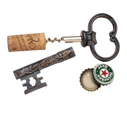 """EttansPalace - The Bishop's Church Key Corkscrew and Bottle Opener - Featuring a handsome verdigris patina and scrolling grapevine motif, this bottle opener will never be hidden away in a drawer. Our is cast directly from an antique original in solid iron. with its stainless steel corkscrew, it will provide many years of entertaining and please any wine lover on your gift list. 5""""L. 1 lb."""
