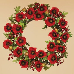 Oddity Red Poppy Pod Tendril 22 in. Wreath - Add a festive element to your home this fall with the Oddity Red Poppy Pod Tendril 22 in. Wreath. Clusters of crimson poppies crowd the wreath for a bold, dramatic color scheme. Lush green foliage provides a lovely contrast, while bundles of red berries serve as charming accents. Great for hanging on your front door or living room wall, this wreath is an excellent winter decoration.About Oddity, Inc.Oddity, Inc. was established in 1976 when Bob Averill left the company he worked for and started his own from the back of his van. After two years of selling products out of his van, Bob moved the company into an old barn near his hometown, Pottsville, PA. Once he landed business relationships with more and more suppliers to help develop new lines of product, Bob was able to bring in sales representatives and a customer service support team to field inbound calls. From there, he hired employees to pack and ship products to his customers in a timely manner. Although Bob sold the company in 1998 to focus on his love for travel and antique collecting, Oddity still remains proud to provide the same quality service and products as they have in the past. Oddity, Inc. has been a leader in the gift and home decor industry for over 35 years. Their designers travel worldwide in search of the best quality products at the most competitive prices. It's Oddity's goal to offer customers superior goods for their home decorating needs. From florals to glassware to botanicals and more, Oddity has a wide variety of unique items sure to fit anyone's taste and style.