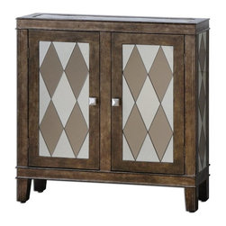 Matthew Williams - Matthew Williams Trivelin Wooden Console Cabinet X-47342 - Tarnished silver finish on the wooden frame, with the doors, sides and top inset with a harlequin pattern of clear and bronze mirrors.