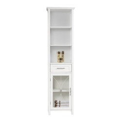 Elegant Home Fashions - Delaney Linen Cabinet with 1 Drawer and 3 Open Shelves - The Delaney Linen Tower Storage Cabinet in a white finish from Elegant Home Fashions features an elegant crown molded top combines a traditional style and storage for any bathroom.  Its design offers plenty of storage with one door and one drawer with adjustable shelves and two open shelves making it easy to store items of different heights. The metal glider drawer allows for easy open and close operation. The tempered glass-paneled doors decorated with cathedral style wire provide a looming view into the cabinet,  and features a metal handle for easy opening. This sturdy cabinet comes with assembly hardware.