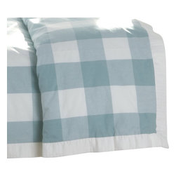 "MysticHome - Crossings Sky Duvet Cover by MysticHome, Twin - Simply luxurious in checkered aqua and creamy white, The Crossings Sky Collection transforms the bedroom into a serene, cozy retreat. The check together with a 1"" quilted box fabric creates a clean, crisp look."