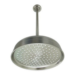 "Kingston Brass - 10"" Shower Head & 17"" Ceiling Support Combo - This shower head has a 10"" diameter face and 66 water jets for a relaxing downpour. The solid brass construction allows long-lasting use and is built to withstand corrosion and tarnishing.; 10"" diameter head; 17"" ceiling mounted shower arm; 66 spray nozzles; Rain drop shower pattern; 1/2"" IPS; Material: Brass; Finish: Satin Nickel Finish; Collection: Victorian"