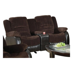 Coaster - Coaster Johanna Reclining Corduroy Love Seat in Chocolate - Coaster - Loveseats - 600363L - This family room love seat is the perfect solution to restless weary muscles as well as family movie night. A transitional piece this reclining love seat passes up traditional couches by having a fabric and leather match draping that coordinates well in casual as well as formal room settings. A great relaxation piece that is a favorite among families and couples this match leather love seat is topped with soft pillowed cushions providing a luxurious contoured comfort for head to toe relaxation.