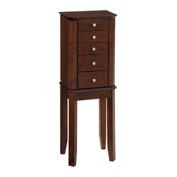 Powell - Powell Espresso Jewelry Armoire - This armoire is petite and perfect storage for your jewelry. A simple,square design with square legs,the armoire features circular,silver finish,drawer knobs.