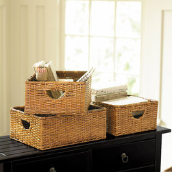 Ballard Designs - Set of 3 Rattan Baskets - Woven storage baskets provide discreet storage for those everyday things that aren't necessarily easy on the eyes. Plus, using baskets to break up vignettes within a shelving display is an easy way to keep the overall look neat.
