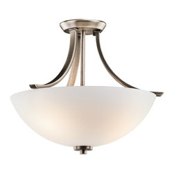 KICHLER - KICHLER Granby Transitional Semi-Flush Mount Ceiling Light X-TPB36524 - A satin etched opal glass shade draws the eye up on this Kichler Lighting semi flush mount ceiling light. From the Granby Collection, it also features a clean Brushed Pewter finish that accentuates the elegant curves for a stylish look that will compliment a variety of spaces.