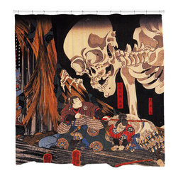 """Sharp Shirter - Defying the Skeleton Shower Curtain - """"This curtain is printed in USA!. Hooks sold separately. Disclaimer: If you order multiple items, they may ship from separate locations."""""""