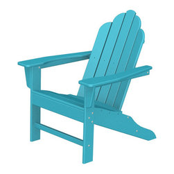 """Polywood POLYWOOD® Long Island Adirondack Chair in Aruba - Bring the easy comfort of a day at the beach to your outdoor living area with the stylish and eco-friendly Long Island Adirondack Chair inspired by the classic Northeast Adirondack with a twist of modern design. You don't need a house in the Hamptons to create your own breezy get away with these classically styled pieces constructed from HDPE material – an incredibly durable material made from post-consumer bottle waste, such as milk and detergent bottles. The Long Island Adirondack Chair comes in nine vibrant, fade-resistant colors so you can mix and match with any décor. Solidly constructed with stainless steel hardware, these pieces will stand the test of time and can withstand the elements with very little maintenance.  The Long Island Adirondack Chair will not absorb moisture, so there's no fear of splintering, cracking or other weather-related wear and tear. They require no waterproofing, painting or staining to maintain their bright color for years, even through rain, snow, saltwater and ice. The colors are blended into the material all the way through, and are UV-resistant. Minimal assembly is required.Available colors: Sunset Red, Tangerine, Lemon, Lime, Aruba, Pacific Blue, Teak, White, and Black.  Dimensions: Long Island Adirondack Chair – 38.5""""H x 31.25""""W x 33.75""""D, Seat height – 16"""", Seat size – 22"""" x 17.75""""   Care: The Long Island Collection washes easily with mild soap and water. They can be power washed at pressures below 1,500 PSI."""