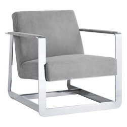 Sunpan - Clevelander Armchair, Grey Suede With Polished Stainless Frame - This ultra modern armchair from our Club Collection is defined by a bold stainless steel frame. Stocked in grey and peanut suede with CA foam making this chair a stunning addition to any contract or residential space. No assembly required.