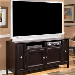 Signature Design by Ashley - Modern TV Stand w Cabinet Doors and Nickel To - Color/Finish: Black. Constructed with select veneers and hardwood solids. Nickel color hardware. 60 in. W x 20 in. L x 30 in. H