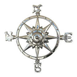 Handcrafted Nautical Decor - Chrome Rose Compass 23'' - This Chrome Compass Rose 23'  is  truly a great gift to any nautical enthusiast. Inspired by authentic   compasses, this rose compass features a nautical star in the middle  and  of course the directions north, south, east and west. Hang this  compass  to add a nautical flair to any wall in your home.--23'Long x 1.5'Wide x 23'High------    Chrome finish gives a modern nautical appearance--    --    Easily mountable to any room in your home--    Compass is clearly marked North, South, East, West--