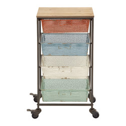 Colorful and Portable Metal Wood Storage Cart - Description: