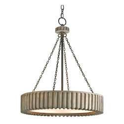 """Currey and Company - Greyledge Chandelier - A carved wooden """"gear? pendant finished in Old Iron and Washed Gray brings industrial chic into play with its materials, form and coloration. It is a great complement to a room featuring a """"rough luxe? motif."""