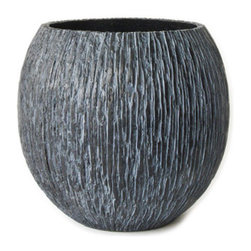 """18KARAT - Black 17"""" - The texture of the Vitra glass, these outdoor planters have a rough, ridged texture as if dug up from the crust of the Earth. They are available in a range of neutral colors and sizes."""