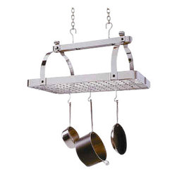 "Enclume - Premier Classic Rectangle Pot Rack W/Grid, Chrome - Dimensions: 30"" W x 18.5"" D x 22"" H"