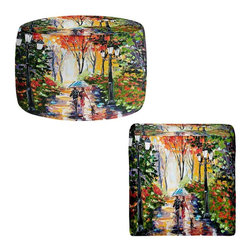 DiaNoche Designs - Ottoman Foot Stool by Karen Tarlton - Walking the Dog - Lightweight, artistic, bean bag style Ottomans. You now have a unique place to rest your legs or tush after a long day, on this firm, artistic furtniture!  Artist print on all sides. Dye Sublimation printing adheres the ink to the material for long life and durability.  Machine Washable on cold.  Product may vary slightly from image.
