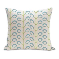 Bud Organic Cotton Fabric 18 x18 Pillow in Surf/Lime/Natural