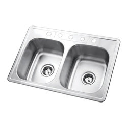 Kingston Brass - Stainless Steel Gourmetier Self Rimming Double Bowl Sink Satin Nickel GKTD332285 - The self-rimming kitchen sink features two square-shaped basins and four drilled holes built in superior quality stainless steel for durability and a long-lasting experience.Manufacturer: Kingston BrassModel: GKTD332285UPC: 663370216541Product Name: Gourmetier GKTD332285 Self Rimming Double Bowl Sink, Satin Nickel Collection / Series: StudioFinish: Stainless SteelTheme: N/AMaterial: Stainless SteelType: Kitchen SinksFeatures: 304 Grade Stainless Steel. resist from chips and scratches