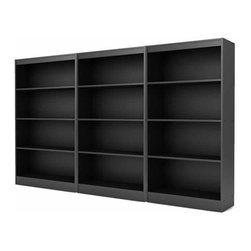 South Shore - South Shore Axess 4 Shelf Wall Bookcase in Pure Black - South Shore - Bookcases - 7270767PKG - South Shore Axess 4 Shelf Bookcase in Pure Black