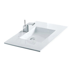 """WS Bath Collections - Tecno 2242 Vessel or Wall Mount Bathroom Sink 31.5"""" - Tecno Bathroom Sink by WS Bath Collections, in Ceramic White, -Made in Italy"""