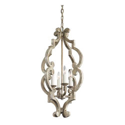 Kichler Lighting - Kichler Lighting 43255DAW Hayman Bay Distressed Antique White Pendant - 4, 60W Candelabra