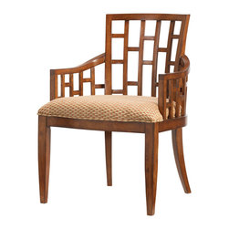 Lexington - Lexington Ocean Club Lanai Arm Chair Set of 2 536-881-01 - Standard upholstered seat is a tan and rust geometric pattern.