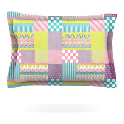 "Kess InHouse - Louise Machado ""Patchwork"" Purple Green Pillow Sham (Cotton, 40"" x 20"") - Pairing your already chic duvet cover with playful pillow shams is the perfect way to tie your bedroom together. There are endless possibilities to feed your artistic palette with these imaginative pillow shams. It will looks so elegant you won't want ruin the masterpiece you have created when you go to bed. Not only are these pillow shams nice to look at they are also made from a high quality cotton blend. They are so soft that they will elevate your sleep up to level that is beyond Cloud 9. We always print our goods with the highest quality printing process in order to maintain the integrity of the art that you are adeptly displaying. This means that you won't have to worry about your art fading or your sham loosing it's freshness."