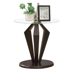 Monarch Specialties - Monarch Specialties 7891E Dia End Table in Dark Espresso - Jazz up your home with this gorgeous contemporary beveled, tempered Glass top end table. Thick geometrically shaped supports in a rich espresso finish, as well as a satin silver plated top create a wealth of warmth to your room.