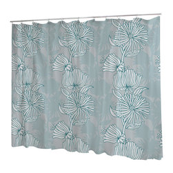 Uneekee - Uneekee Sweet Flowers Shower Curtain - Your shower will start singing to you and thanking you for such a glorious burst of design as you start your day!  Full printing on the front and white on the back.  Buttonhole openings for shower rings.