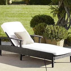 "Palmetto All-Weather Wicker Single Chaise with Cushion Set, Set of 2, Black fini - Crafted of a rugged synthetic that captures the beauty of wicker, our chaise can be left outdoors year-round. Click to read an article on {{link path='pages/popups/palmetto-care_popup.html' class='popup' width='640' height='700'}}recommended care{{/link}}. 31"" wide x 80"" long x 21"" high Backrest adjusts to five positions including flat. Frame has a matte black painted finish. Includes a quick-drying seat cushion and a water-repellent polyester canvas slipcover in Natural; imported Get a colorful update with additional slipcovers (sold separately) in water-repellent, ring-spun polyester canvas, or fade and stain-resistant Sunbrella(R) fabric; imported. Sunbrella(R) cushions and slipcovers are special order items which receive delivery in 34 weeks. Please click on the shipping tab for shipping and return information. View our {{link path='pages/popups/fb-outdoor.html' class='popup' width='480' height='300'}}Furniture Brochure{{/link}}."