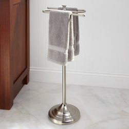 Smithfield  Free Standing Towel Bar - Add instant refinement to your bathroom with the Smithfield Towel Holder, made of durable steel. This upright towel holder lets you grasp bath towels with ease.