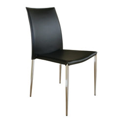 Baxton Studio - Baxton Studio Benton Black Leather Dining Chair - The simple and clean lines of this leather chair will delight you. Durable bonded leather upholstery for longer lasting use and stain resists for easy clean up. Chair constructed with sturdy steel frame lightly padded with high density foam for added comfort. The classic look of this chair will look great with your other furniture as well.