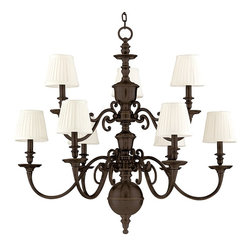 Hudson Valley Lighting - Hudson Valley Lighting Charleston Traditional Chandelier X-BO-9471 - Sleek styling and classic form makes this traditional chandelier worth your careful attention. The off white lamp shades are soothing and bright so they start conversation and they look fabulous in your apartment, dining room, kitchen, or bathroom. The old bronze finish is highly durable and made to please so you can always enjoy the majestic glow.
