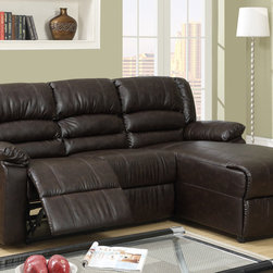 Small Coffee Leather Reclining Sectional Sofa Recliner Right Chaise - Perfect for entertaining friends or a family movie night, this large recliner sectional not only provides ultimate comfort, but delivers contemporary style with plush seating and backrest upholstered in a hazelnut hue of microfiber with espresso bonded leather trim. This unit also includes a Right-sided chaise.